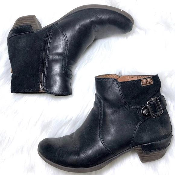 Pikolinos Black Leather Heeled Ankle